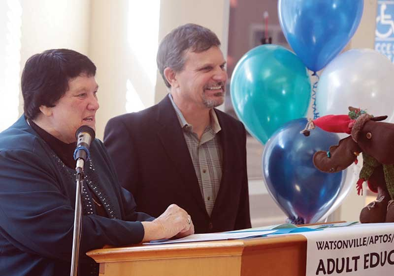 Nancy Bilicich, director of Watsonville Aptos Santa Cruz Adult Education, is joined by Assistant Director Todd Livingstone Monday at a celebration of the 90th anniversary of the school.  Photo by Tarmo Hannula Register-Pajaronian